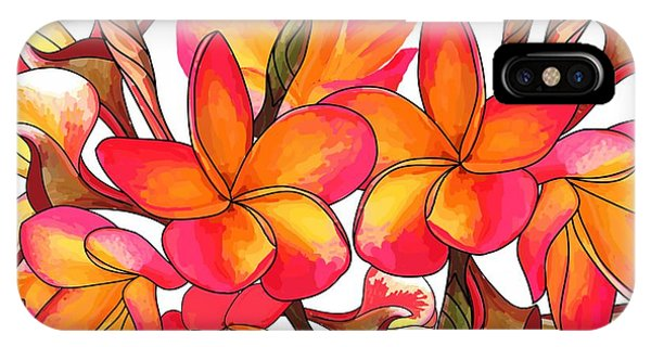 iPhone Case - Coloured Frangipani White Bkgd3 by Joan Stratton