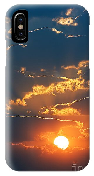 Orange Color iPhone Case - Colourful Sunrise Creating Golden Edges by Johan Swanepoel