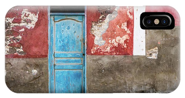 Colorful Wall With Blue Door IPhone Case