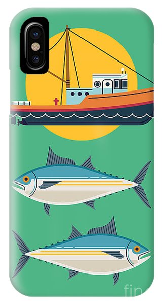 Fisherman iPhone Case - Commercial Fishery Concept Layout. Tuna by Mascha Tace