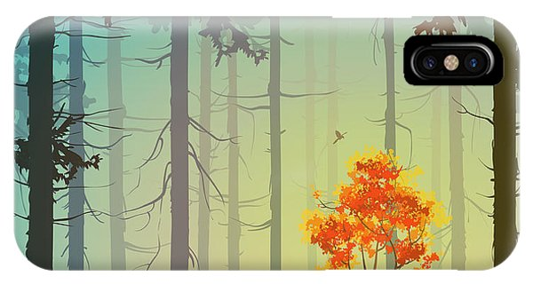 Needles iPhone Case - Coniferous Forest With Autumn Tree And by Eva mask