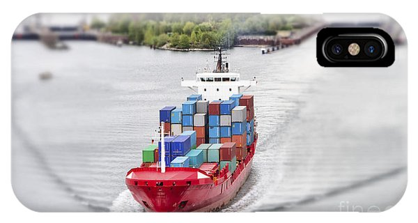 Container iPhone Case - Container Vessel On Kiel Canal, Germany by Ralf Gosch