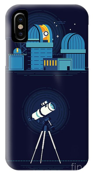 Solar System iPhone Case - Cool Vector Modern Observatory At Night by Mascha Tace