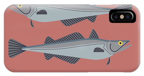 Fisherman iPhone Case - Cool Vector Pacific Hake Fish by Mascha Tace