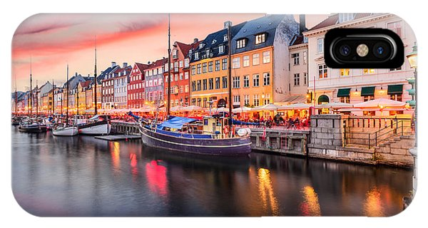 Dusk iPhone Case - Copenhagen, Denmark On The Nyhavn Canal by Sean Pavone