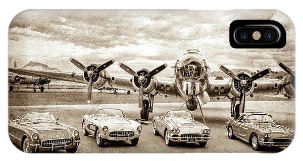 Bomber iPhone Case - Corvettes And B17 Bomber -0027cl2 by Jill Reger