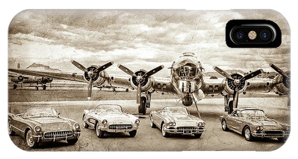 Bomber iPhone Case - Corvettes And B17 Bomber -0027s by Jill Reger