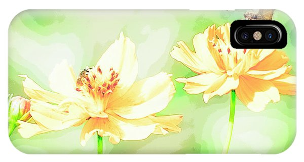 Cosmos Flowers, Bud, Butterfly, Digital Painting IPhone Case