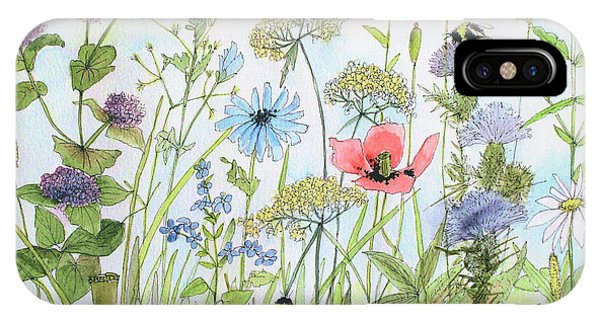 Cottage Flowers And Bees IPhone Case