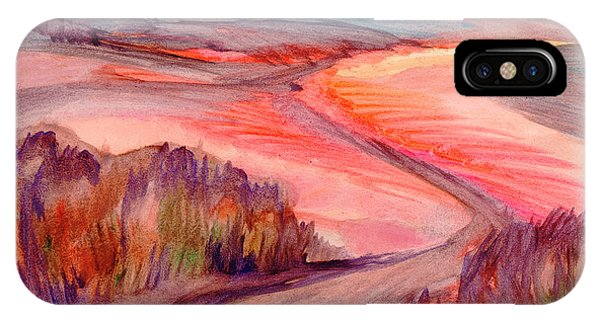 IPhone Case featuring the painting Country Road by Dobrotsvet Art