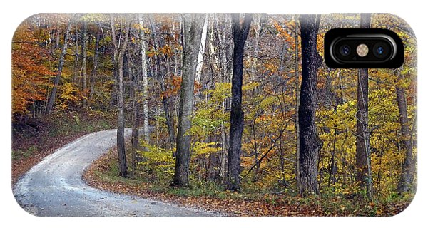 IPhone Case featuring the photograph Country Road On Fall Day by Mike Murdock