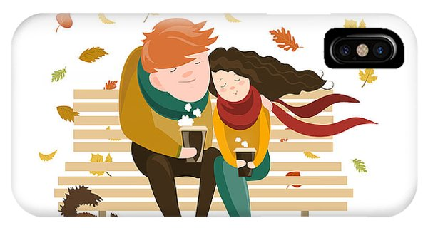 Park Bench iPhone Case - Couple Sitting On Bench And Drink by Maria Starus