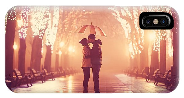 Park Bench iPhone Case - Couple With Umbrella Kissing At Night by Masson