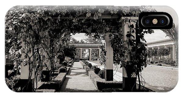 J Paul Getty iPhone Case - Courtyard Landscape Bw Getty Villa  by Chuck Kuhn