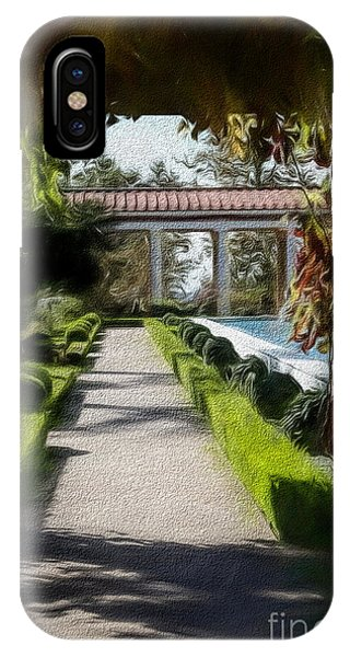 J Paul Getty iPhone Case - Painted Texture Courtyard Landscape Getty Villa California  by Chuck Kuhn
