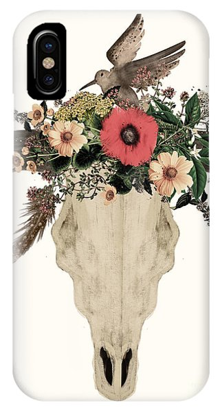 Native iPhone Case - Cow Skull Flowers by Bri Buckley