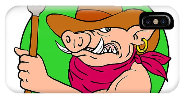 Barbeque iPhone Case - Cowboy Hog Holding Barbecue Steak Drawing Color by Aloysius Patrimonio