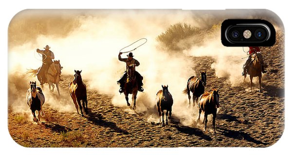 Dusk iPhone Case - Cowboys Chasing Wilding Horses. Roping by Jeanne Provost