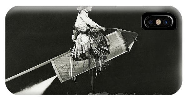 Humor iPhone Case - Cowgirl Takes Off On A Rocket by Everett Collection