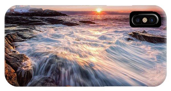 Crashing Waves At Sunrise, Nubble Light.  IPhone Case