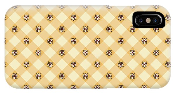 Cream Floral Gingham Pattern IPhone Case