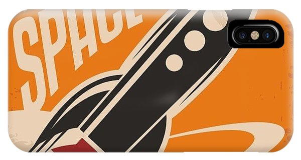 1950s iPhone Case - Creative Design Concept With Rocket And by Lukeruk