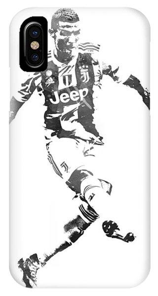 Cristiano Ronaldo iPhone Case - Cristiano Ronaldo Juventus Water Color Pixel Art 1 by Joe Hamilton