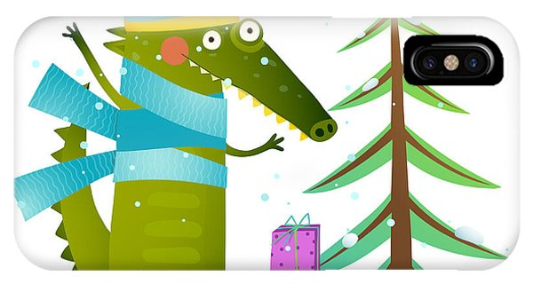 Present iPhone Case - Crocodile Wearing Winter Warm Clothes by Popmarleo