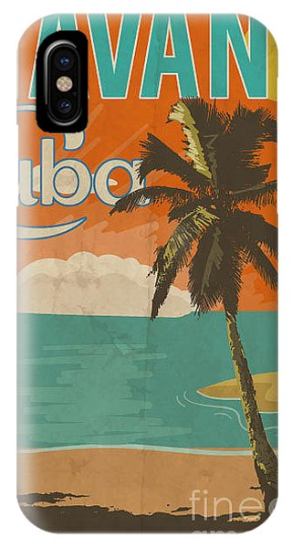 1950s iPhone Case - Cuba Havana Poster Illustration by Yusuf Doganay