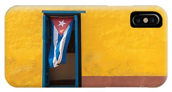 Patriotic iPhone Case - Cuban Flag Hanging On A Door In by Sabino Parente