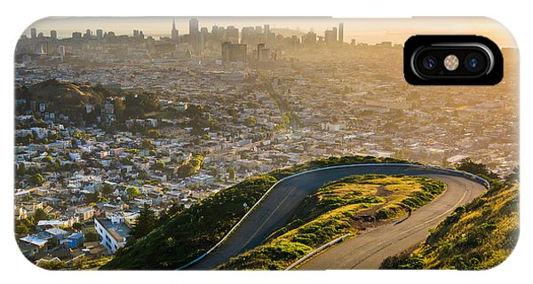 Beautiful Sunrise iPhone Case - Curvy Road And View Of Downtown At by Esb Professional