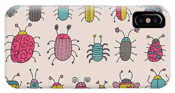 Bee iPhone X Case - Cute Bugs. Cartoon Insects In Vector Set by Smilewithjul