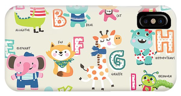 Cute Kitten iPhone Case - Cute Cartoon Animals Alphabet From A To by Littlewhale
