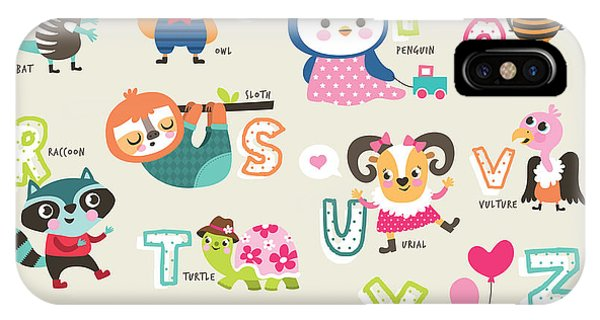 Bee iPhone X Case - Cute Cartoon Animals Alphabet From N To by Littlewhale