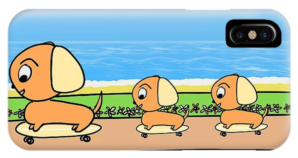 Cute Cartoon Dogs On Skateboards By The Beach IPhone Case