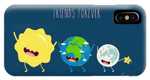 Space iPhone Case - Cute Cartoon Planet Earth, Sun, Moon by Serbinka