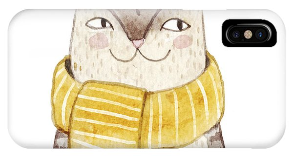 Cute Kitten iPhone Case - Cute Cat In Scarf . Watercolor by Maria Sem