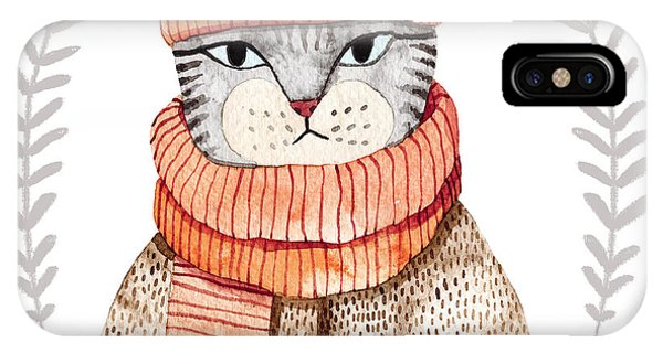 Cute Kitten iPhone Case - Cute Cat In Scarf .illustration With by Maria Sem