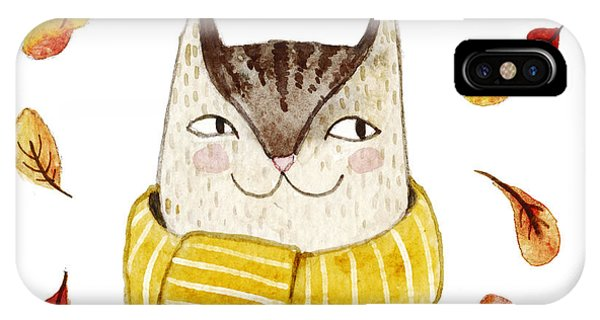 Cute Kitten iPhone Case - Cute Cat In Scarf With Autumn Leaves by Maria Sem