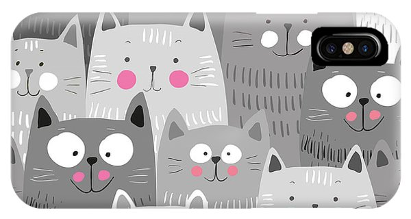 Grey Background iPhone Case - Cute Cats Colorful Seamless Pattern by Marianna Pashchuk