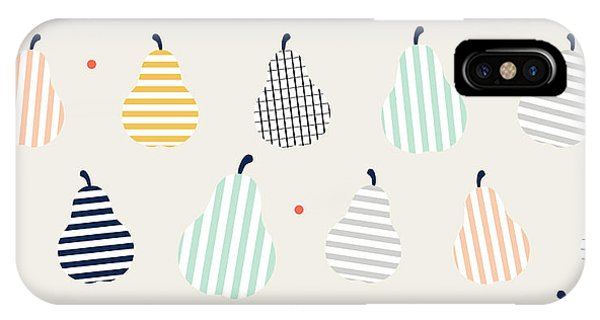 Stripe iPhone X Case - Cute Colorful Abstract Pear Fruit With by Mellomello
