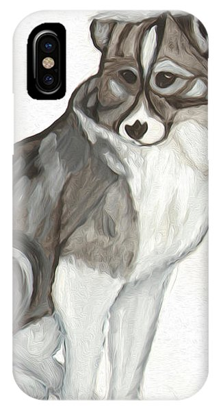 IPhone Case featuring the painting Cute Fluffy Dog by Dobrotsvet Art