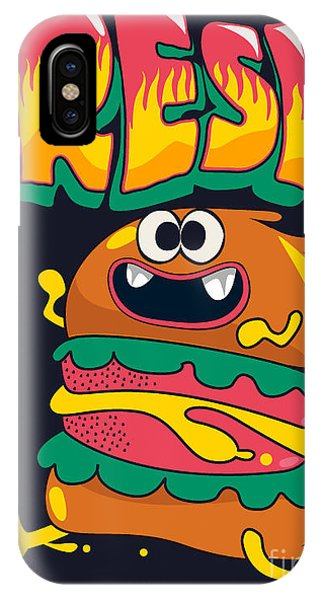 Seeds iPhone Case - Cute Hamburger Is Running, Vector by Braingraph