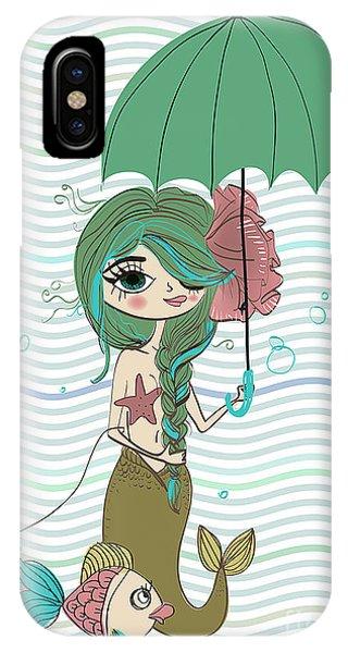 Mythology iPhone Case - Cute Mermaid With Umbrella by Elena Barenbaum