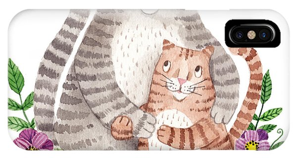 Cute Kitten iPhone Case - Cute Mothers Day Greeting Card With by Maria Sem