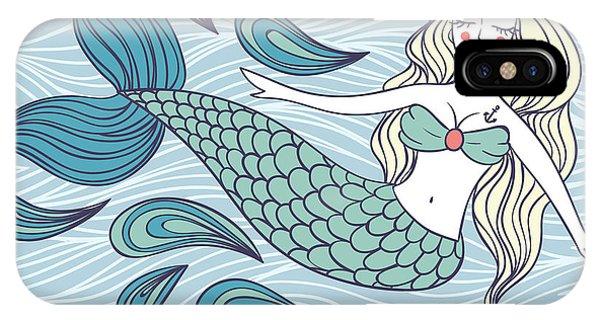Fairy Tales iPhone Case - Cute Mystical Mermaid.deep Ocean.vector by Maria Sem