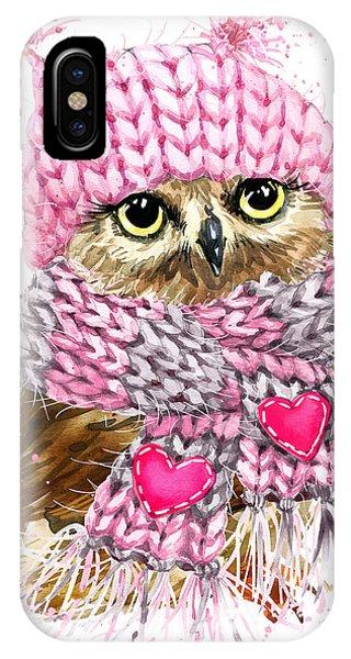 Winter Fun iPhone Case - Cute Owl Watercolor Illustration For by Faenkova Elena