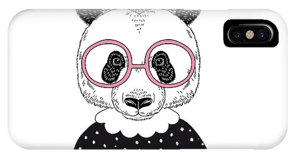 Cute Portrait Of Panda Princess, Hand Phone Case by Olga angelloz
