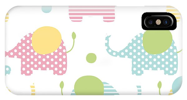 White Background iPhone Case - Cute Seamless Pattern With Elephants In by Martynmarin