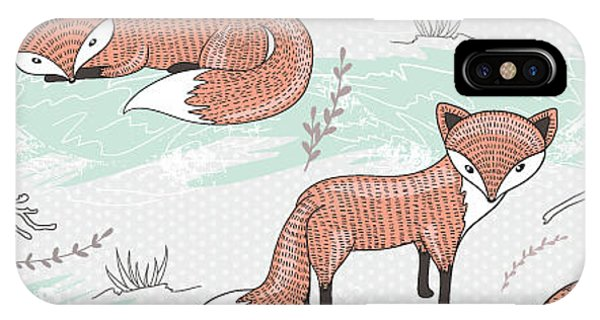 Winter Fun iPhone Case - Cute Seamless Pattern With Little Foxes by Dovile Kuusiene